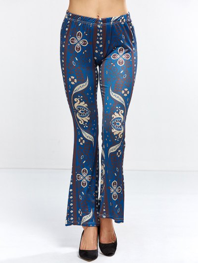 Floral Bell Bottom Pants - PURPLISH BLUE M Mobile