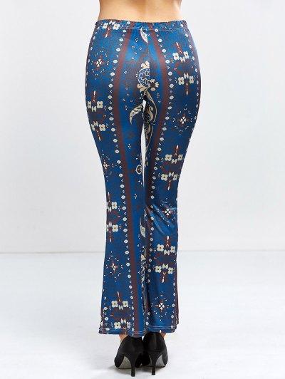 Floral Bell Bottom Pants - PURPLISH BLUE S Mobile