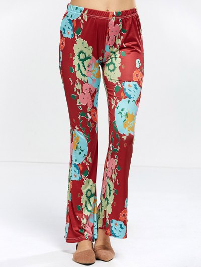 Flower Bell Bottom Pants - WINE RED XL Mobile