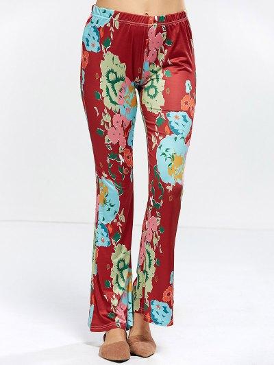 Flower Bell Bottom Pants - WINE RED L Mobile