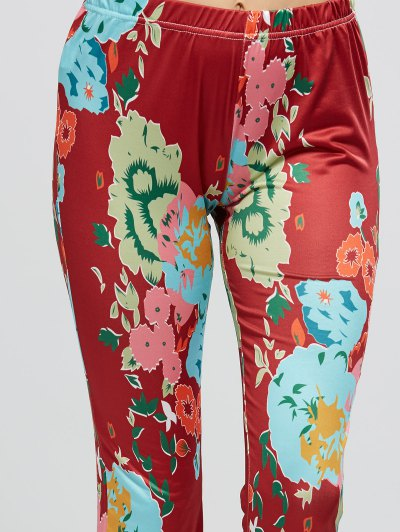 Flower Bell Bottom Pants - WINE RED S Mobile