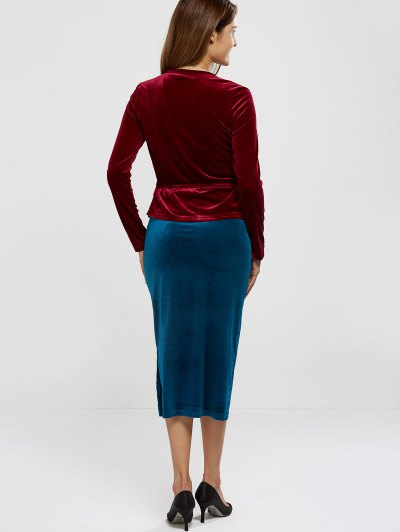 Velour Wrap Top - WINE RED ONE SIZE Mobile