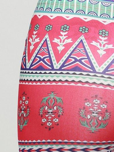 Patterned Skinny Leggings - ROSE RED ONE SIZE Mobile