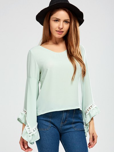 Flare Sleeve Chiffon Blouse - LIGHT GREEN 2XL Mobile