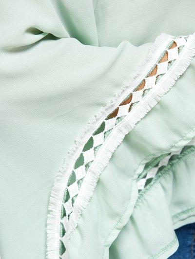 Flare Sleeve Chiffon Blouse - LIGHT GREEN S Mobile