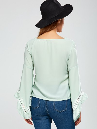 Flare Sleeve Chiffon Blouse - LIGHT GREEN S Mobile