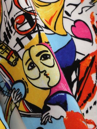 Off Shoulder Scrawl Print Top - COLORMIX L Mobile