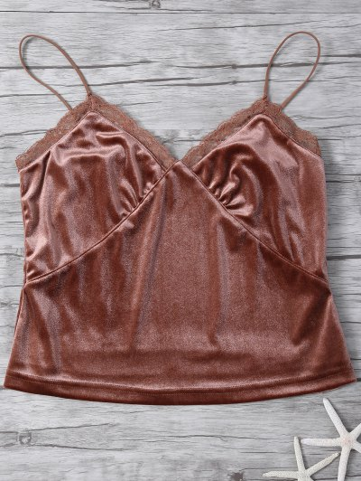 Lace Trim Velvet Camisole Top - COFFEE L Mobile