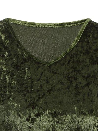 Bell Sleeve V Neck Fit and Flare Velvet Dress - GREEN 2XL Mobile