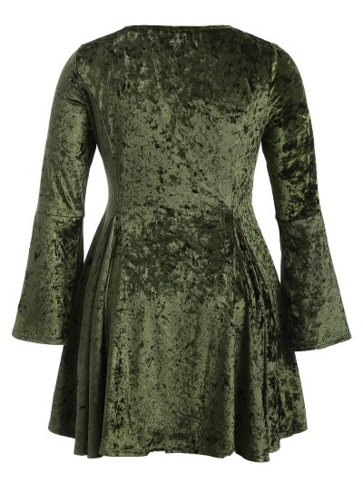 Bell Sleeve V Neck Fit and Flare Velvet Dress - GREEN XL Mobile