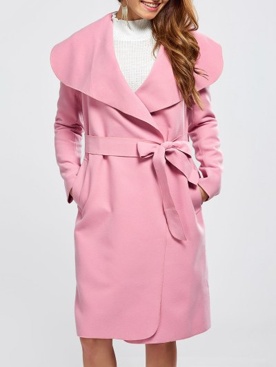 Shawl Collar Belted Wrap Coat - PINK L Mobile