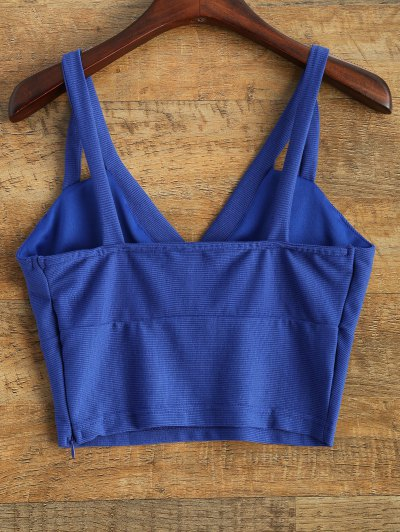 Plunge Cropped Tank Top - BLUE 2XL Mobile