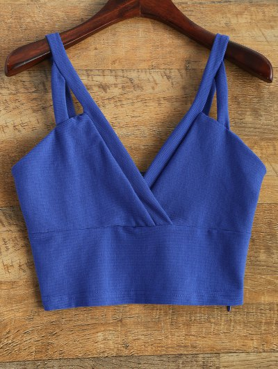 Cropped Tank Top - BLUE L Mobile