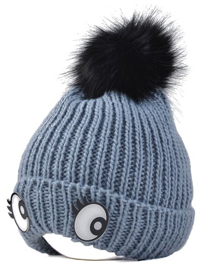 Knitting Patterns Eyes Pom Hat - GRAY  Mobile