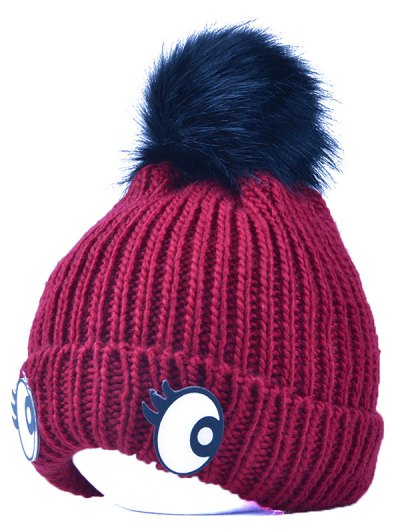 Knitting Patterns Eyes Pom Hat - WINE RED  Mobile