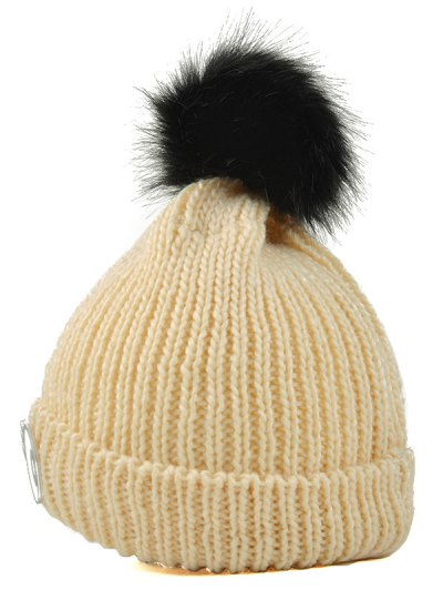 Knitting Patterns Eyes Pom Hat - PEARL BEIGE  Mobile