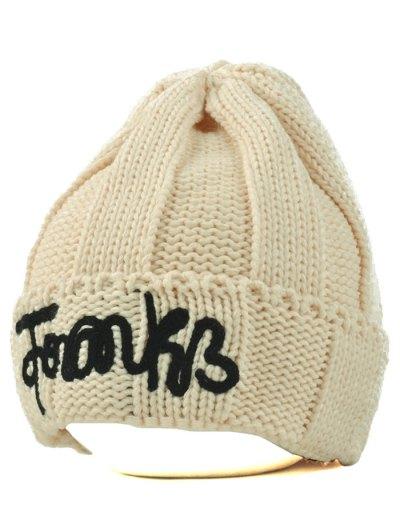 Knitting Patterns Letter Hat - BEIGE  Mobile