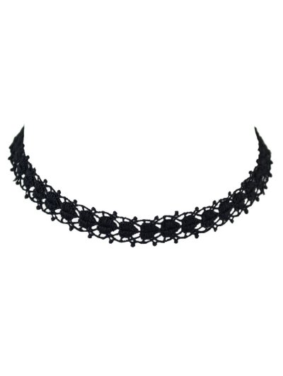 Hollow Out Lace Peach Heart Choker - BLACK  Mobile