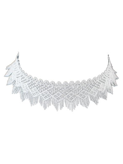 Concise Geometry Tassel Lace Choker - WHITE  Mobile