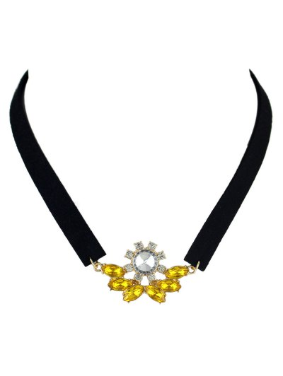 Faux Crystal Velvet Choker Choker - YELLOW  Mobile