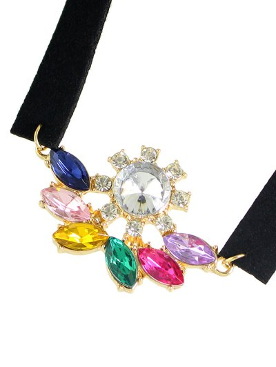 Faux Crystal Velvet Choker Choker - COLORFUL  Mobile