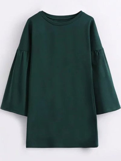 Round Collar Shift Dress - GREEN L Mobile