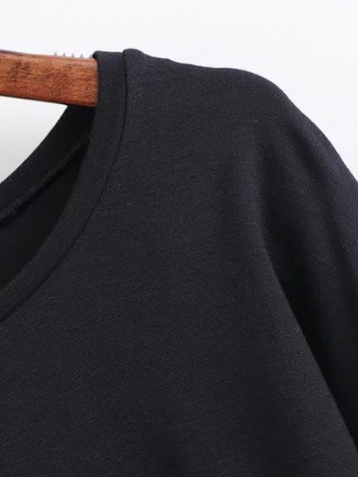 Round Collar Shift Dress - BLACK M Mobile