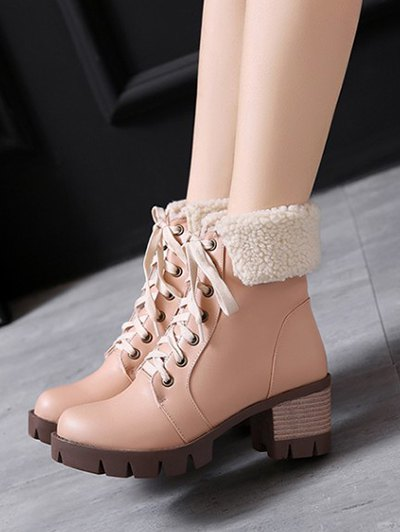 Lace Up Platform Round Toe Ankle Boots - APRICOT 39 Mobile