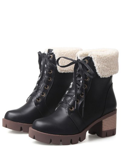 Lace Up Platform Round Toe Ankle Boots - BLACK 37 Mobile