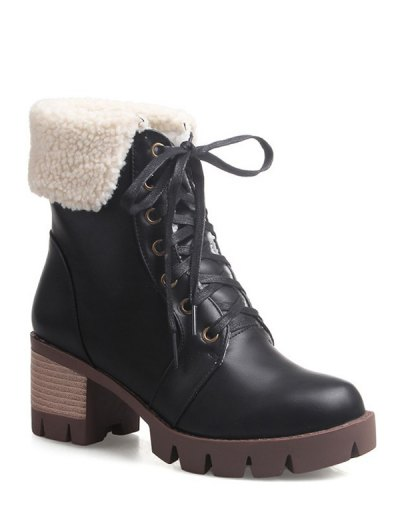 Lace Up Platform Round Toe Ankle Boots - BLACK 38 Mobile