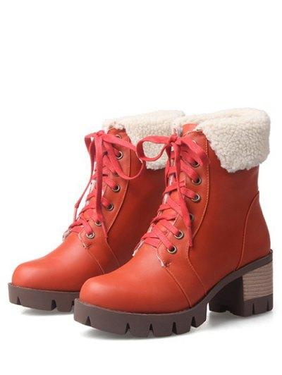 Lace Up Platform Round Toe Ankle Boots - ORANGEPINK 39 Mobile