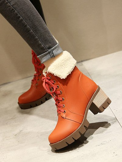 Lace Up Platform Round Toe Ankle Boots - ORANGEPINK 38 Mobile