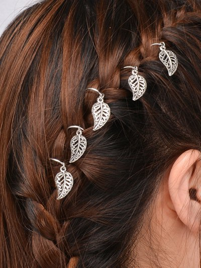 5 PCS Adorn Leaves Hair Accessory - SILVER  Mobile