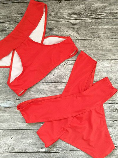 Cut Out Bandage Bikini Set - RED M Mobile