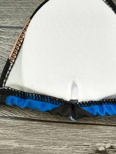 Geometric Print Color Block Bikini Set - BLACK L Mobile