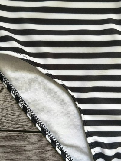 Strapless Feather Print Striped Bikini Set - WHITE AND BLACK L Mobile