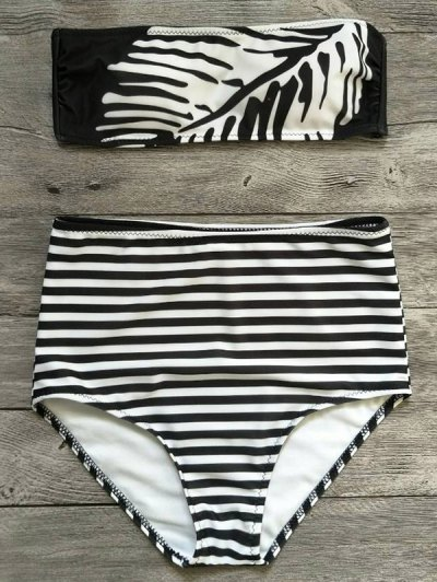 Strapless Feather Print Striped Bikini Set - WHITE AND BLACK M Mobile