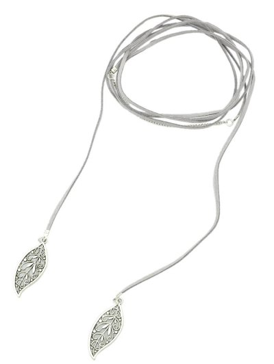 Layered Leaf Necklace - GRAY  Mobile
