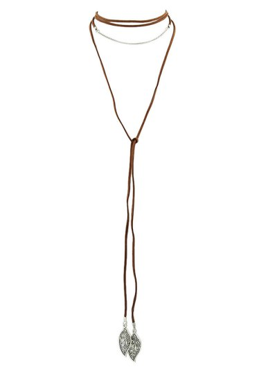 Layered Leaf Necklace - BROWN  Mobile