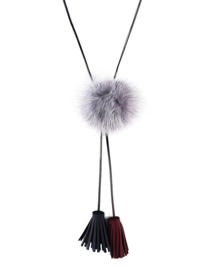 Fringe Faux Fur Ball Necklace - GRAY  Mobile