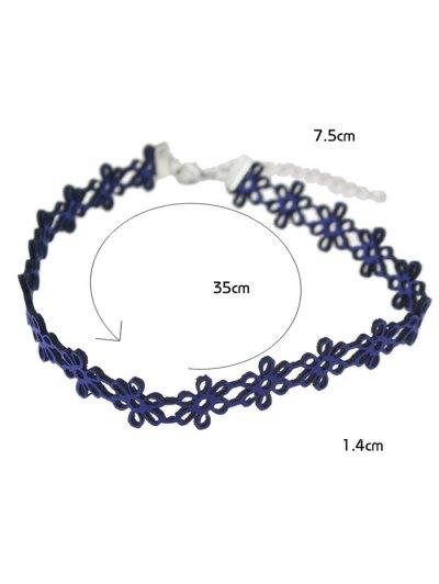Hollow Floral Choker Necklace - BLUE  Mobile