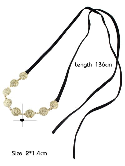 Tie Velvet Bar Round Alloy Necklace - BLACK  Mobile