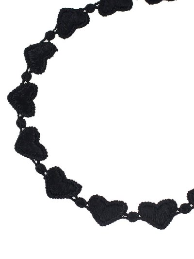 Lace Peach Heart Choker - BLACK  Mobile
