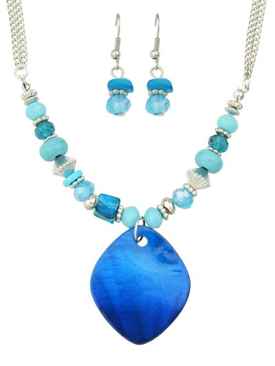 Faux Crystal Turquoise Jewelry Set - BLUE  Mobile