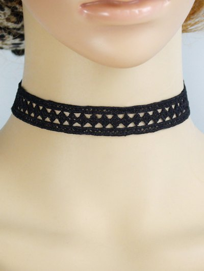 Concise Geometry Openwork Lace Choker - BLACK  Mobile