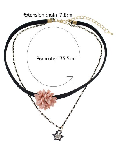 Velvet Floral Double Layers Choker - PINK  Mobile