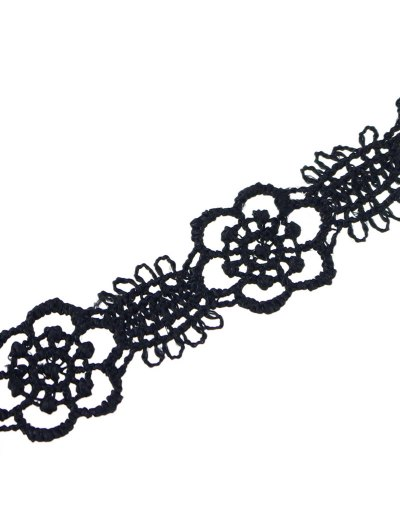 Concise Floral Openwork Lace Choker - BLACK  Mobile