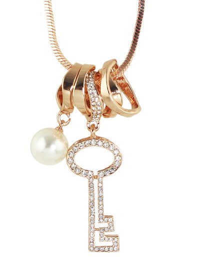 Faux Pearl Rhinestone Key Sweater Chain - ROSE GOLD  Mobile