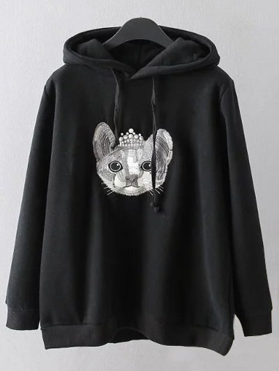 String Cartoon Embroidered Hoodie - BLACK 2XL Mobile