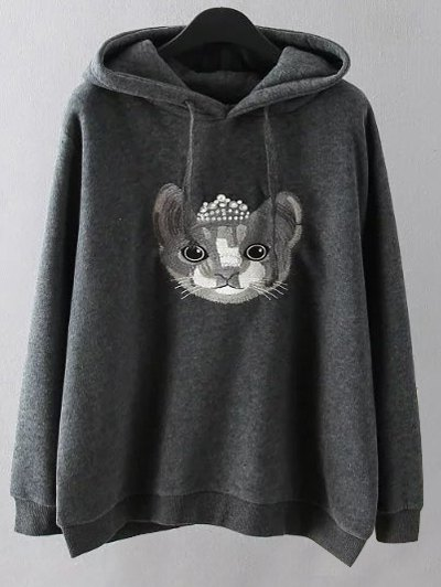 String Cartoon Embroidered Hoodie - GRAY XL Mobile